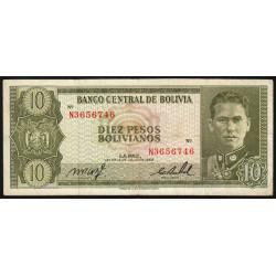 Bolivie - Pick 154a19 - 10 pesos bolivianos - Loi 1962 (1982) - Etat : TB+