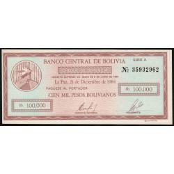 Bolivie - Pick 188 - 100'000 pesos bolivianos - Loi 1984 - Série A - Etat : NEUF