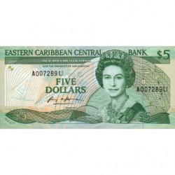 Est Caraïbes - Anguilla - Pick 22u - 5 dollars - 1988 - Etat : NEUF