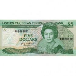 Est Caraïbes - Dominique - Pick 18d - 5 dollars - 1987 - Etat : NEUF