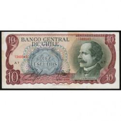 Chili - Pick 142_2 - 10 escudos - 1970 - Etat : TTB