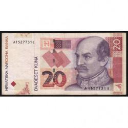 Croatie - Pick 39a - 20 kuna - 07/03/2001 - Etat : TB