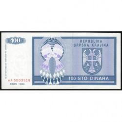 Croatie - Krajina - Pick R3 - 100 dinars - 1992 - Etat : NEUF