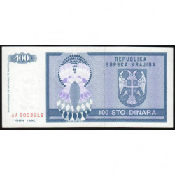 Krajina - Pick R3 - 100 dinars - 1992 - Etat : NEUF