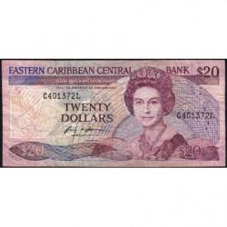 Est Caraïbes - Sainte Lucie - Pick 24l1 - 20 dollars - 1989 - Etat : B+