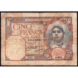 Algérie - Pick 77a_1 - 5 francs - 11/04/933 - Etat : B