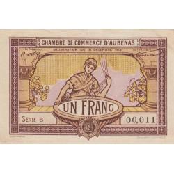 Aubenas - Pirot 14-2 - 1 franc - Série 6 - 19/12/1921 - Etat : TTB+