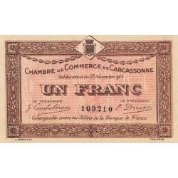 Carcassonne - Pirot 38-6 variété - 1 franc - 1914 - Etat : SUP
