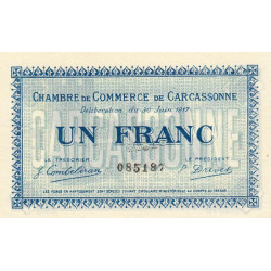 Carcassonne - Pirot 38-13 variété - 1 franc - 1917 - Etat : SUP