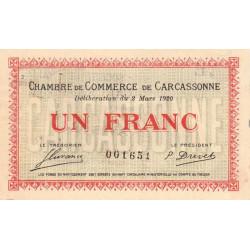 Carcassonne - Pirot 38-17 - 1 franc - 1920 - Etat : TTB+