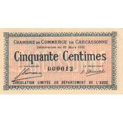Carcassonne - Pirot 38-19 - 50 centimes - Petit numéro - 1922 - Etat : SUP+