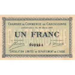 Carcassonne - Pirot 38-21 - 1 franc - Petit numéro - 1922 - Etat : SUP+