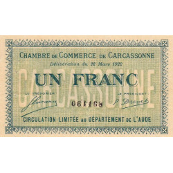 Carcassonne - Pirot 38-21 - 1 franc - 1922 - Etat : TTB+
