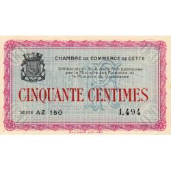 Cette (Sète) - Pirot 41-4 - 50 centimes - Série AZ 150 - 11/08/1915 - Etat : SPL
