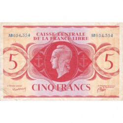 AEF - Pick 10a - 5 francs France Libre - 02/12/1941 - Rarissime série AB - Etat : TTB