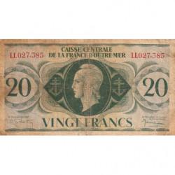 AEF - Pick 17b - 20 francs France Outre-Mer - 02/02/1944 - Série LL - Etat : TB-