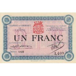 Cette (Sète) - Pirot 41-5 - 1 franc - Série 149 - 11/08/1915 - Etat : NEUF