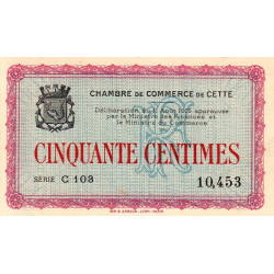 Cette (Sète) - Pirot 41-10 - 50 centimes - 1915 - Etat : SUP+