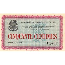 Cette (Sète) - Pirot 41-10 - 50 centimes - Série C 103 - 11/08/1915 - Etat : SUP+