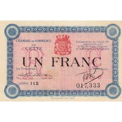 Cette (Sète) - Pirot 41-14 - 1 franc - Série 112 - 11/08/1915 - Etat : TTB+
