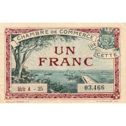 Cette (Sète) - Pirot 41-21 - 1 franc - Série A 25 - 1922 - Etat : TTB+