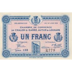 Chalon-sur-Saône / Autun / Louhans - Pirot 42-4a - 1 franc - 1916 - Etat : NEUF