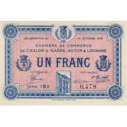 Chalon-sur-Saône / Autun / Louhans - Pirot 42-10 - 1 franc - Série 193 - 27/06/1916 - Etat : SPL+