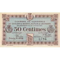 Chalon-sur-Saône / Autun / Louhans - Pirot 42-12 - 50 centimes - Série C 202 - 25/07/1917 - Etat : SPL+