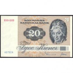 Danemark - Pick 49a2 - 20 kroner - Série A0 - 1979 - Etat : NEUF