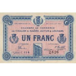 Chalon-sur-Saône / Autun / Louhans - Pirot 42-14 - 1 franc - Série C 114 - 25/07/1917 - Etat : SPL+