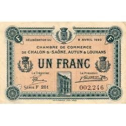 Chalon-sur-Saône / Autun / Louhans - Pirot 42-26 - 1 franc - Série F 251 - 08/04/1920 - Etat : TTB