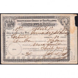 Cuba - Franc-Maçonnerie 1 - Capitation 1,20 peso - 01/04/1932 - Etat : TB+