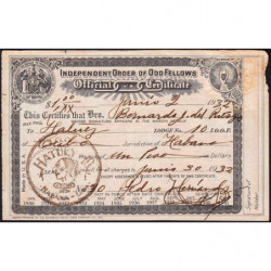 Cuba - Franc-Maçonnerie 1 - Capitation 1 peso - 02/06/1932 - Etat : TB+