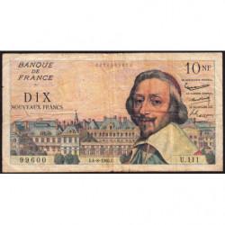 F 57-09 - 04/08/1960 - 10 nouv. francs - Richelieu - Série U.111 - Etat : TB-