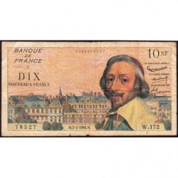 F 57-14 - 02/02/1961 - 10 nouv. francs - Richelieu - Série W.172 - Etat : B+