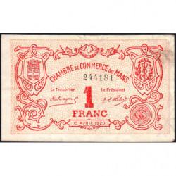 Le Mans - Pirot 69-18b - 1 franc - 15/04/1920 - Etat : TTB