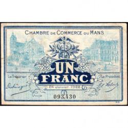 Le Mans - Pirot 69-25 - 1 franc - 24/01/1922 - Etat : TB