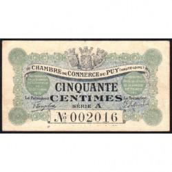 Le Puy (Haute-Loire) - Pirot 70-1 - 50 centimes - Série A - 10/10/1916 - Etat : TTB+