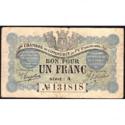 Le Puy (Haute-Loire) - Pirot 70-03-A - 1 franc - 1916 - Etat : TB-