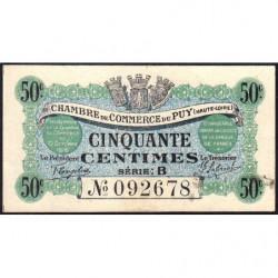 Le Puy (Haute-Loire) - Pirot 70-5 - 50 centimes - Série B - 10/10/1916 - Etat : pr.NEUF