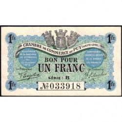 Le Puy (Haute-Loire) - Pirot 70-06-B - 1 franc - 1916 - Etat : SUP+