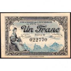Le Puy (Haute-Loire) - Pirot 70-9 - 1 franc - Série D - 10/10/1916 - Etat : pr.NEUF