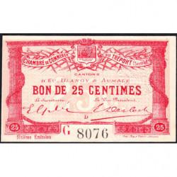 Le Tréport - Pirot 71-23 variété - 25 centimes - Lettre D - Série G - 6e émission - 1916 - Etat : NEUF