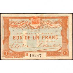 Le Tréport - Pirot 71-29 variété - 1 franc - Lettre A - Série H - 7e émission - 1916 - Etat : TB