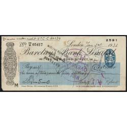 Grande-Bretagne - Chèque - Barclays - 1936 - Etat : TTB