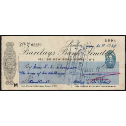 Grande-Bretagne - Chèque - Barclays - 1939 - Etat : TTB
