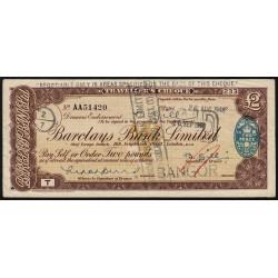 Grande-Bretagne - Chèque Voyage - Barclays - 2 pounds - 1948 - Etat : TTB+