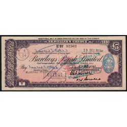 Grande-Bretagne - Chèque Voyage - Barclays - 5 pounds - 1951 - Etat : TTB+