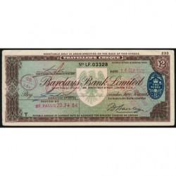 Grande-Bretagne - Chèque Voyage - Barclays - 2 pounds - 1962 - Etat : TTB