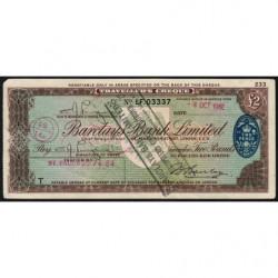 Grande-Bretagne - Chèque Voyage - Barclays - 2 pounds - 1962 - Etat : TB+